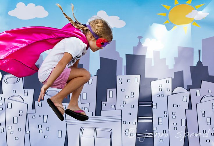 Love this idea: Shoot kids jumping on a trampoline for a superhero party photo. Backdrop optional, but pretty awesome.