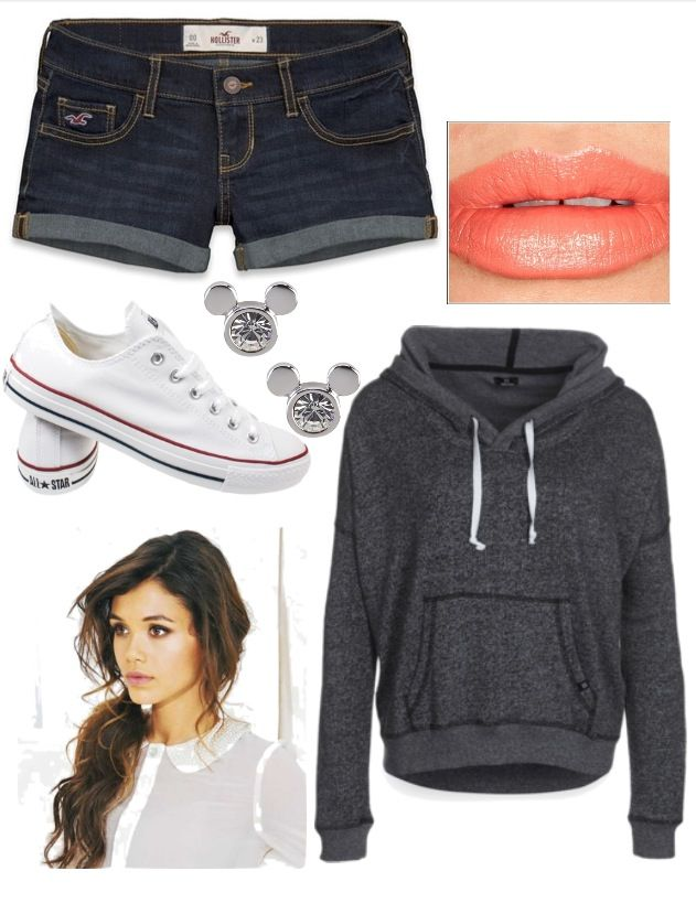 Cute Outfit #jean #shorts #white #converse #grey # ...