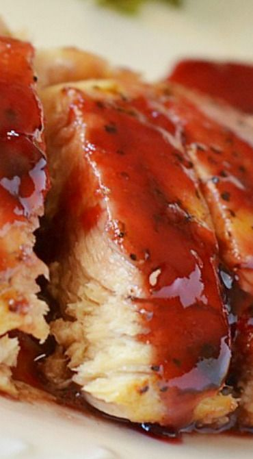 RASPBERRY CHICKEN -  A basic piece of grilled chicken gets a makeover with a heavenly, kind-of spicy Raspberry sauce. This chicken is truly delicious and quick and easy to make. A great dish to serve on a busy weeknight!