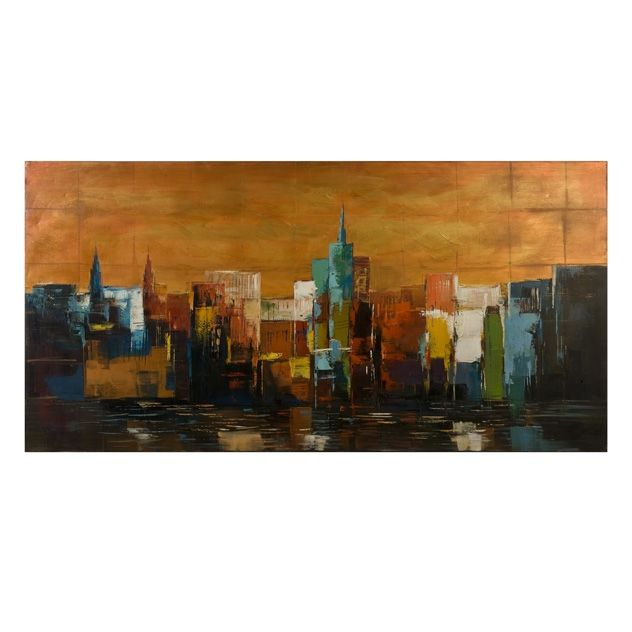70110 Vivid City Scape Oil Painting 30H X
