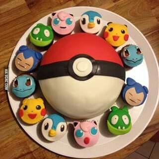 Pokemon Cupcakes And Pokeball Cake Birthday Cake 18th