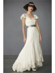 Cotton and Tulle Scooping Neckline Layered hem Wedding Dress