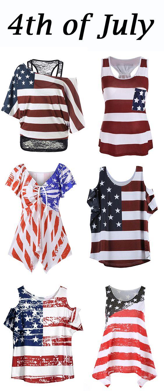 American Flag Print Cold Shoulder T-Shirt