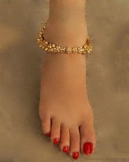 Ghungroo And Stone Anklet goldwhiteGAS12
