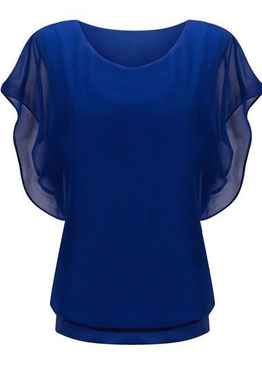 Royal Blue Batwing Sleeve Round Neck Blouse