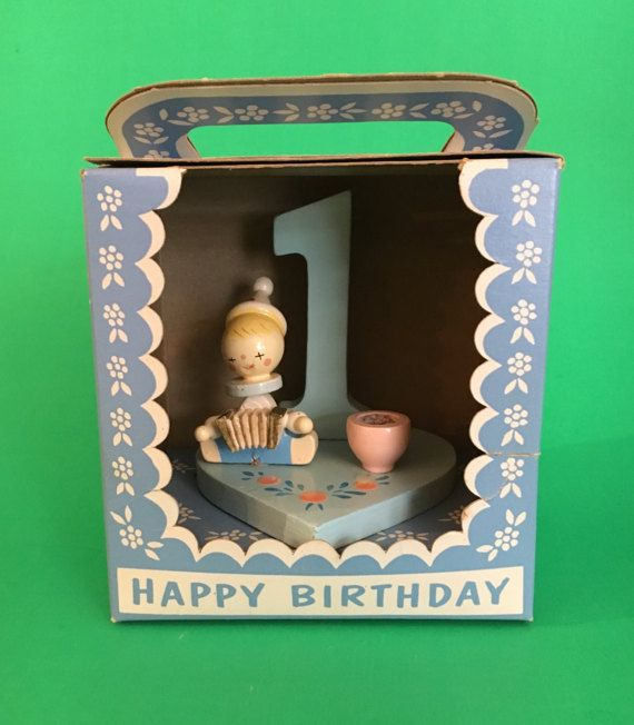 """Vintage First Birthday Candle Holder Cake Topper by """"Irmi"""", Accordian 1965, No. 507, Retro Clown, Hand Painted Nursery Plastics Inc Made USA"""