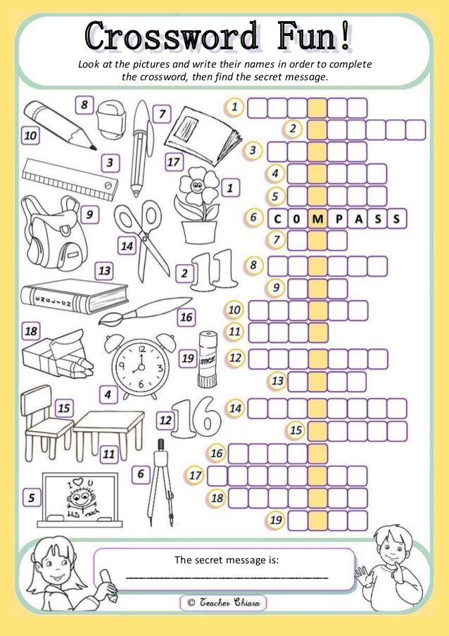 Look at the pictures and write their names in order to complete the crossword, then find the secret message. The secret ...
