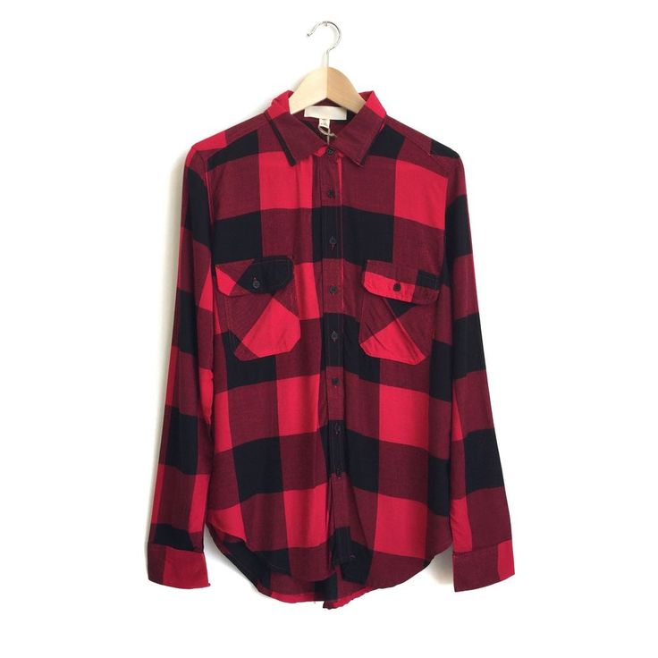 red + black fall flannel long sleeve button up