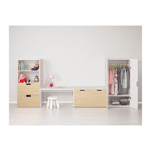 "STUVA Storage combination with bench - white/birch, 118 1/8x19 5/8x50 3/8 "" - IKEA for matteo's room"