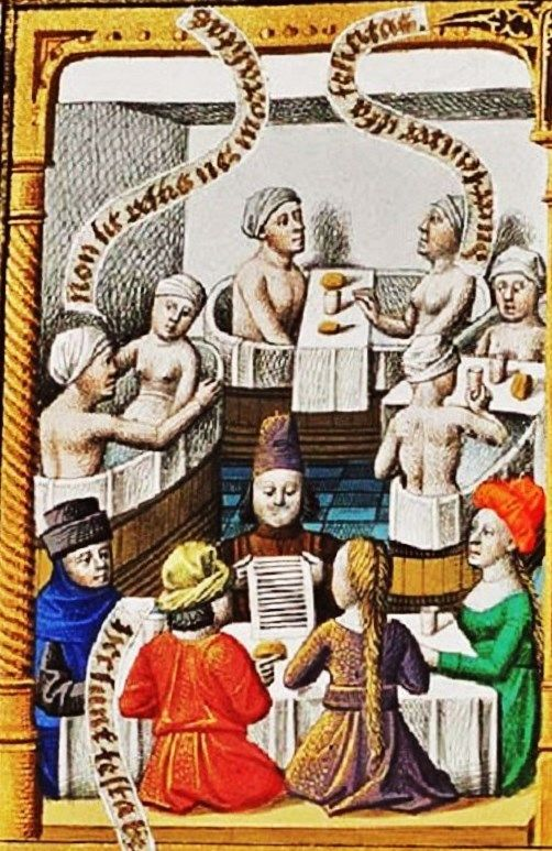 Illuminated Manuscripts - Bathing
