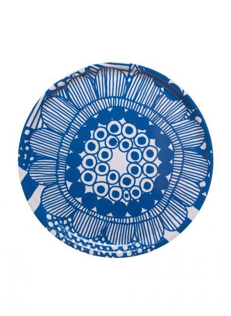 Round siirtolapuutarha tray (white,blue)  Décor, Kitchen & Dining, Trays   Marimekko