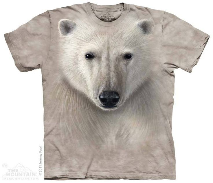 This Mountain t-shirt features the face of a Polar Bear. Free UK Delivery