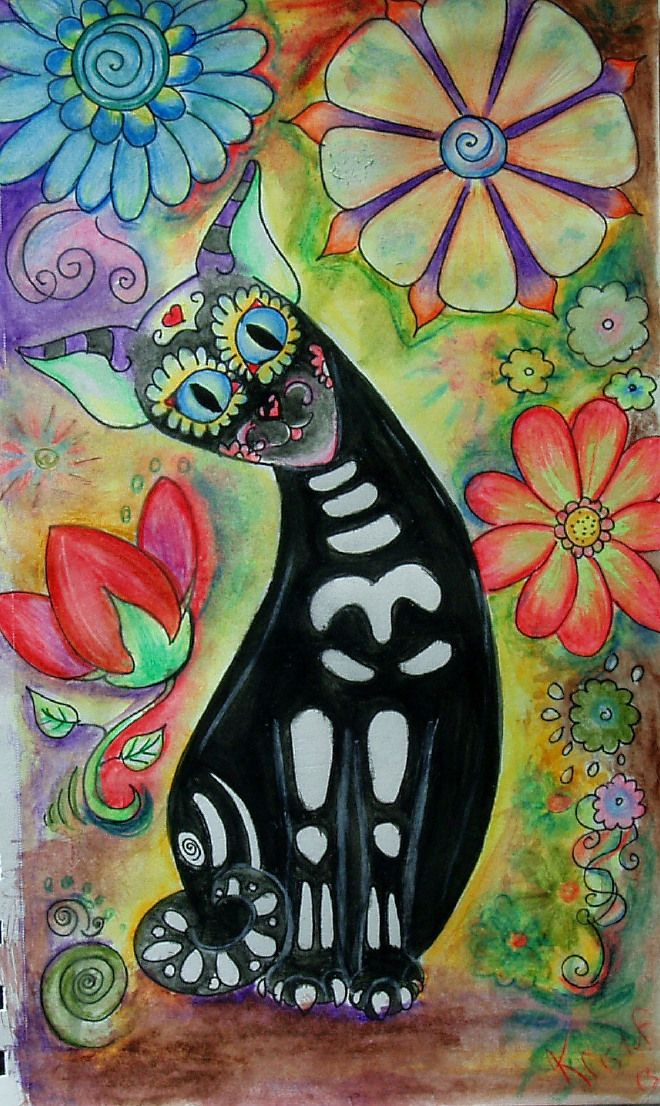 "Muerto Meow series "" Flower child"""