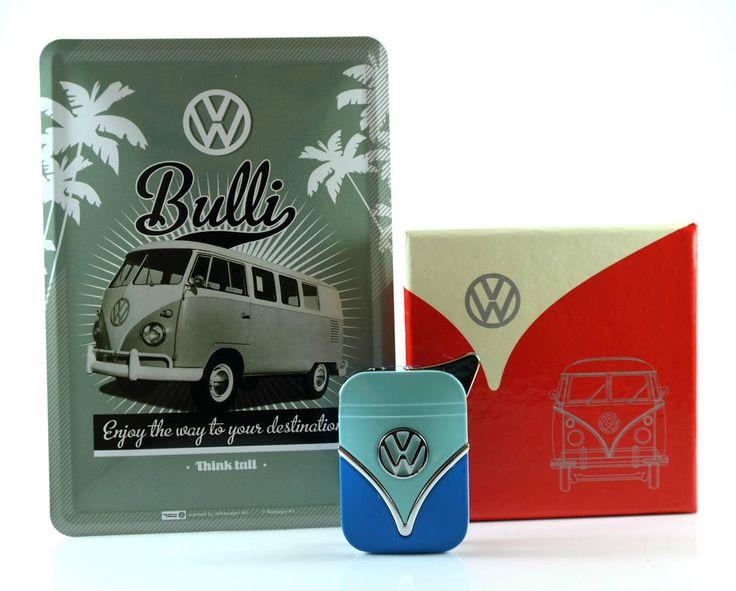VW Feuerzeug und Blechpostkarte T1 Samba Bulli mit Geschenkbox Gas Metall Neu