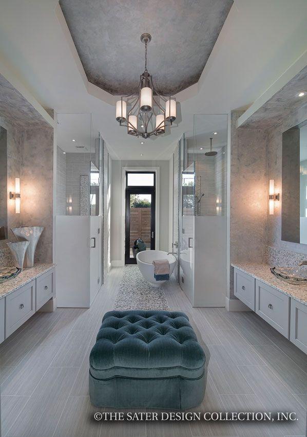 "Master Bathroom. The Sater Design Collection's luxury, modern home plan ""Moderno"" (Plan #6967). saterdesign.com"