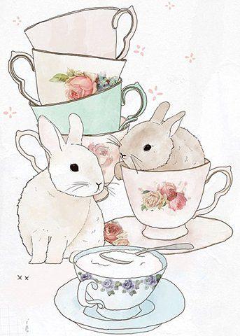 rabbits in tea cups