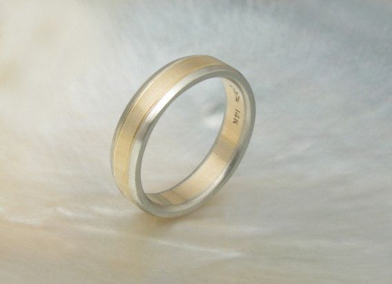 This is sweet too for Grant....handmade two tone wedding band with beveled edges by RavensRefuge, $960.00