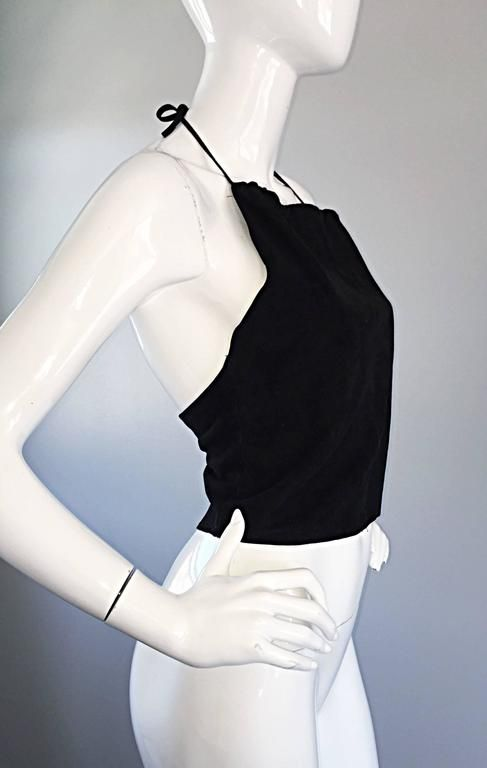 Gemma Kahng Vintage 1990s Black Suede Leather 90s Cropped Halter Top Shirt 3