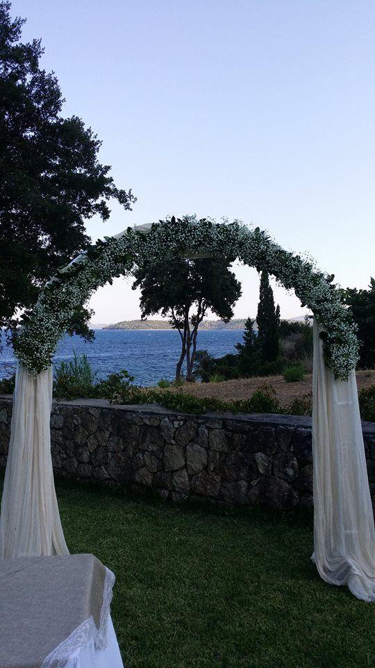 Gypsophila babys breath wedding arch by Gourioti Flowers at Ionian Blue Lefkada