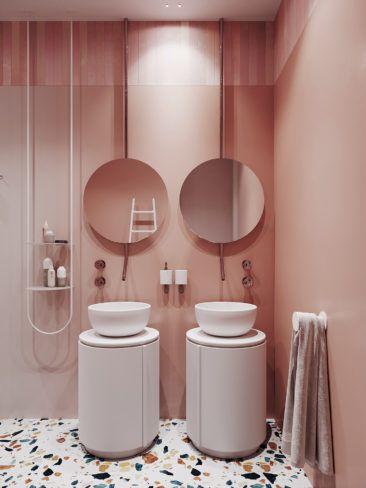 Et pourquoi pas une salle de bain rose terracotta ? – Turbulences Déco
