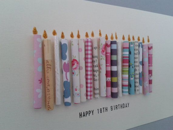 Happy 18th Birthday Candle Card with 18 paper candles, Female, Handmade. on Etsy, £5.50