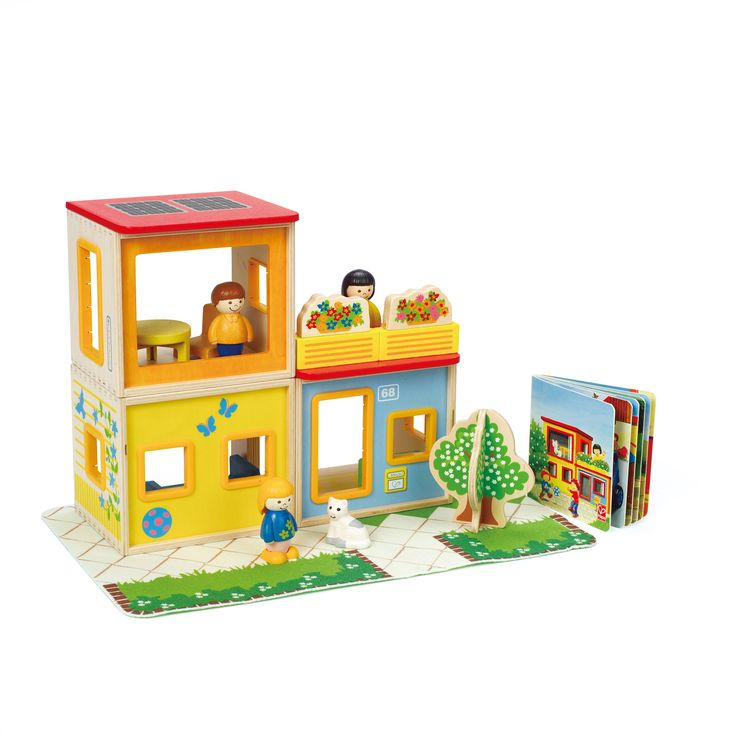"""Click here for a great dramatic play and early literacy gift: http://kiddokorner.com/city-family.html This wooden house encourages hours of creative building and storytelling with three stackable rooms, furniture and a family with pets. A sturdy picture book highlights how the family spends a day. Created by Hape an industry leader in """"green"""" manufacturing of toys. Age: 18+ Months $59.99"""