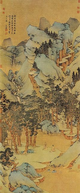明代 - 文徵明 - 春深高樹圖  (上海)           Painted by the Ming Dynasty artist Wen Zhengming. Art work was always very important to the Chinese. Many of the traditional paintings you find will look similar to the one pictured: very yellow parchment, with some colors that stick out more than others. However, none of these paintings were very vivid, despite some use of color.