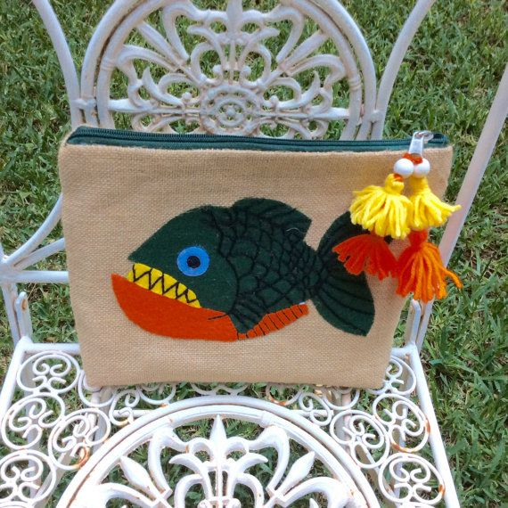 Tropical orange green fish hand appliqued on jute by Apopsis