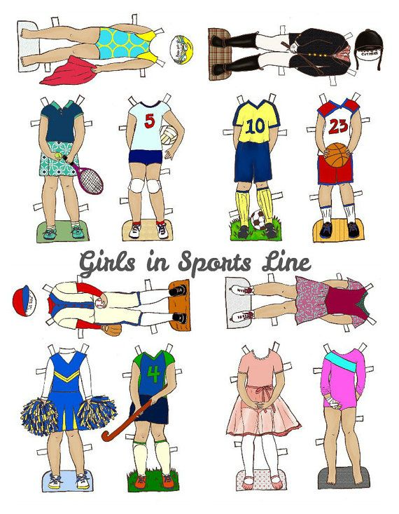 Girls In Sports Paper Doll Outfits Clothes  PDF  by lilyandthistle