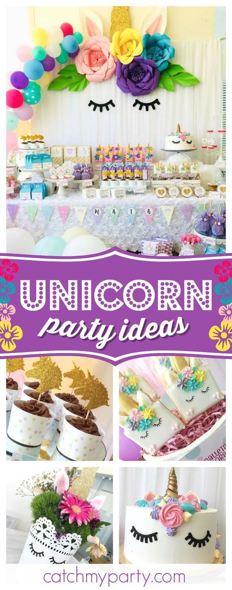 Check out this gorgeous Unicorn birthday party! The dessert table is stunning!! See more party ideas and share yours at CatchMyParty #partyideas #unicorn #girlbirthday