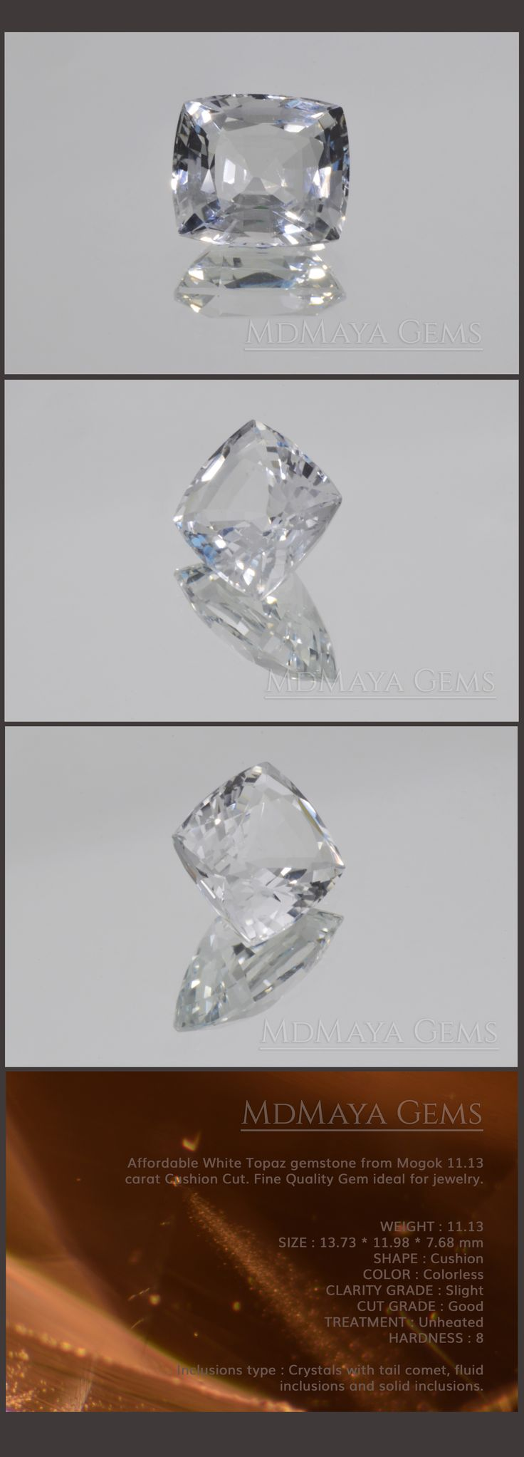 Affordable White Topaz gemstone from Mogok 11.13 carat Cushion Cut. Fine Quality Gem ideal for jewelry.