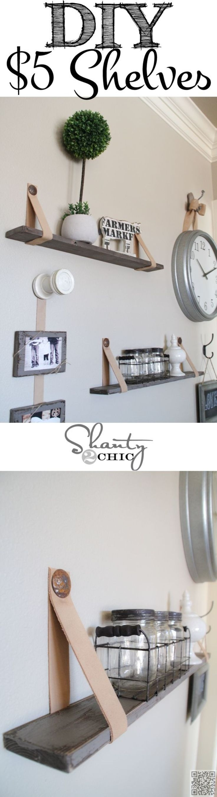 38. Easy $5 #Shelves with Leather #Straps - Shelfies: the Best DIY Shelves ... → DIY #Ordinary