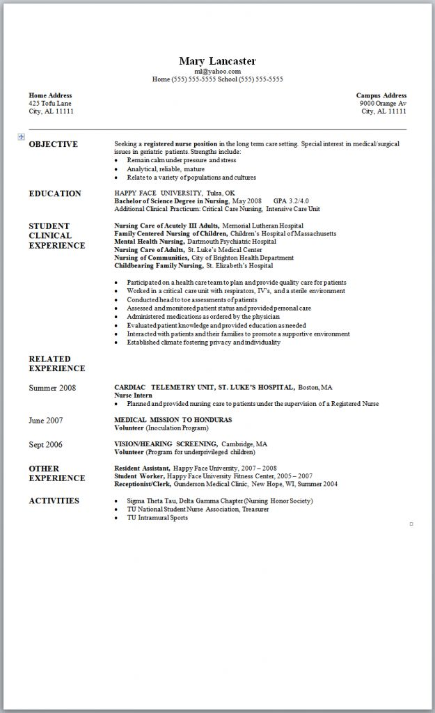 A New Graduate Nurse Sample Nursing Resume With Accompanying Nursing Resume  Template To Help You Draft A Nursing Student Resume.  Help With Resume Wording