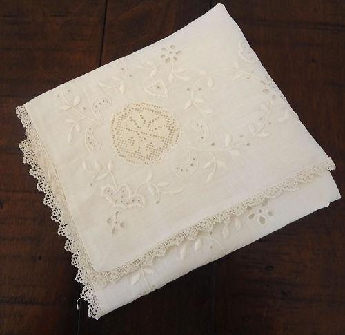 Romantic! Antique Linen Embroidered Lace Pillow Sham