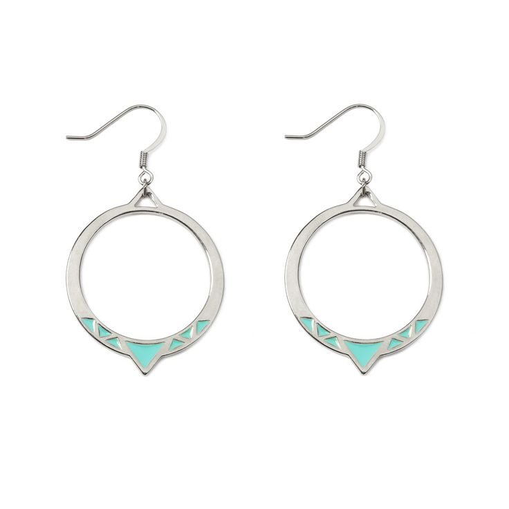 """Cairo earrings - available in gold and silver, with mint or white. Get 25% off these earrings with code """"foxypin"""" www.foxyoriginals... Tags: silver jewelry, imaginary voyage, silver, earrings"""