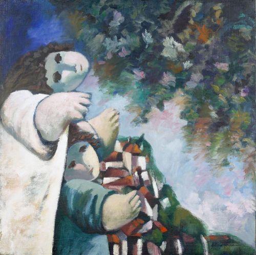 Albino Moura, Abraço a Lisboa, óleo s/ tela, Dim.:73x73 cm. - Palácio do Correio Velho - Leilões e Antiguidades, S.A.
