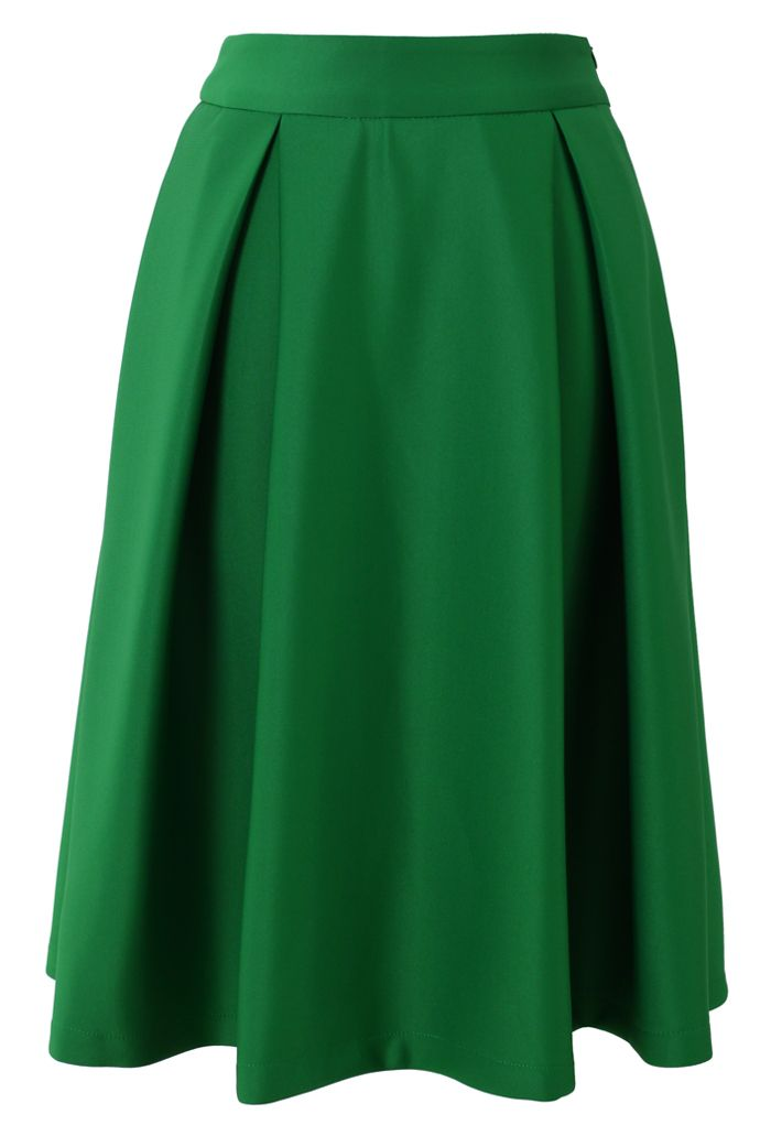 Full A-Line green midi skirt