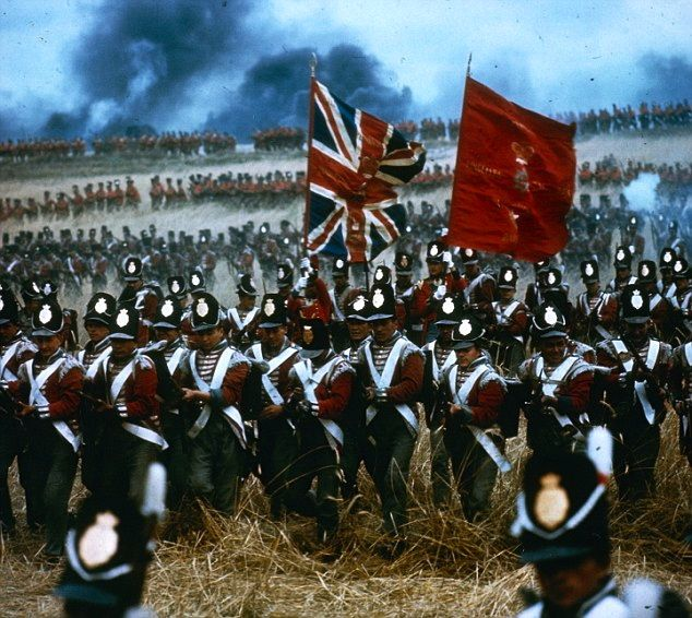 Historic re-enactment of a British advance during the Battle of Waterloo.