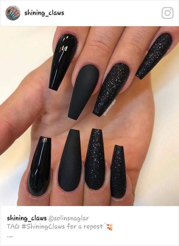 Pin By Tricia On Nails Long Black Nails Black Acrylic Nails Gorgeous Nails
