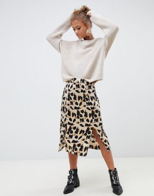 74704c070e Influence satin leopard print midi skirt with slits in 2019 ...