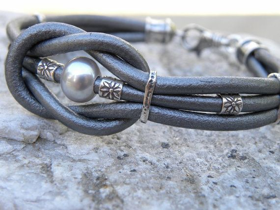 Love Knot Silver Gray Leather and Pearl Sterling Silver Bracelet Artisan Handcrafted Metallic Leather