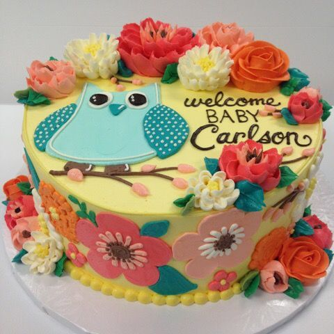 Adorable owl cake for a baby shower