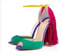 Venta caliente 2015 nueva moda Blue Rose Red Fringe sandalias del alto talón del gladiador sandalia botas de vestir zapatos del verano del partido mujer(China (Mainland))