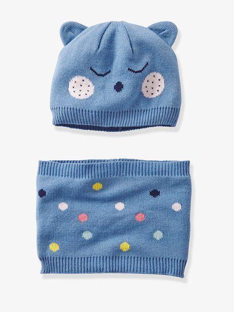 bcdee4f211ec Bonnet à oreilles bébé et snood à pois - bleu à pois   Pinterest ...