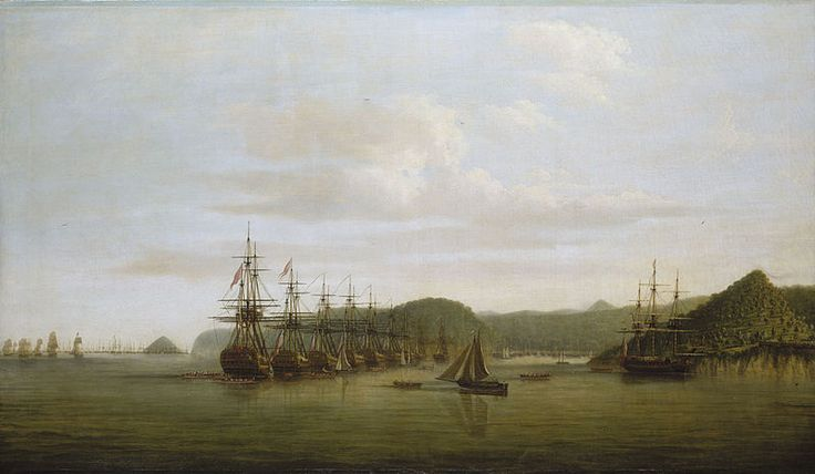 Dominic Serres (1719-1793) Barrington's action at St Lucia:the squadron at anchor off the Cul de Sac after the action,16 December 1778,This shows Admiral Samuel Barrington's squadron at anchor across the Grand Cul de Sac on the west side of St Lucia, covering his invasion transports within it, on the day following his successful defence of the anchorage (during the American War) against the French West Indies fleet. This is seen in the far left distance as is the conical Pigeon Island off…