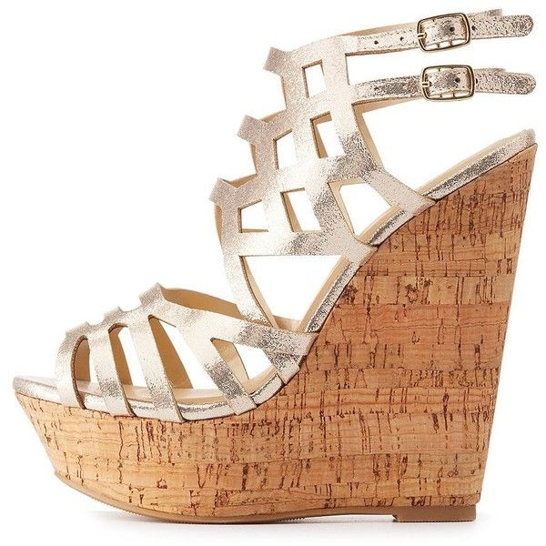 Charlotte Russe Caged Cork Wedge Sandals ($36) ❤ liked on Polyvore featuring shoes, sandals, gold, platform wedge sandals, wedge heel sandals, laser cut sandals, cork shoes and caged wedge sandals