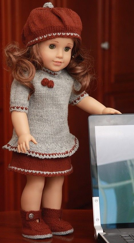 $8 Knit doll clothes with this rich doll knitting pattern