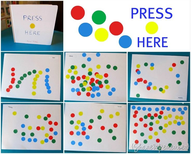 Press Here - a favorite book. Have child stick stickers then tell you what happens when you press the buttons. Write it down!
