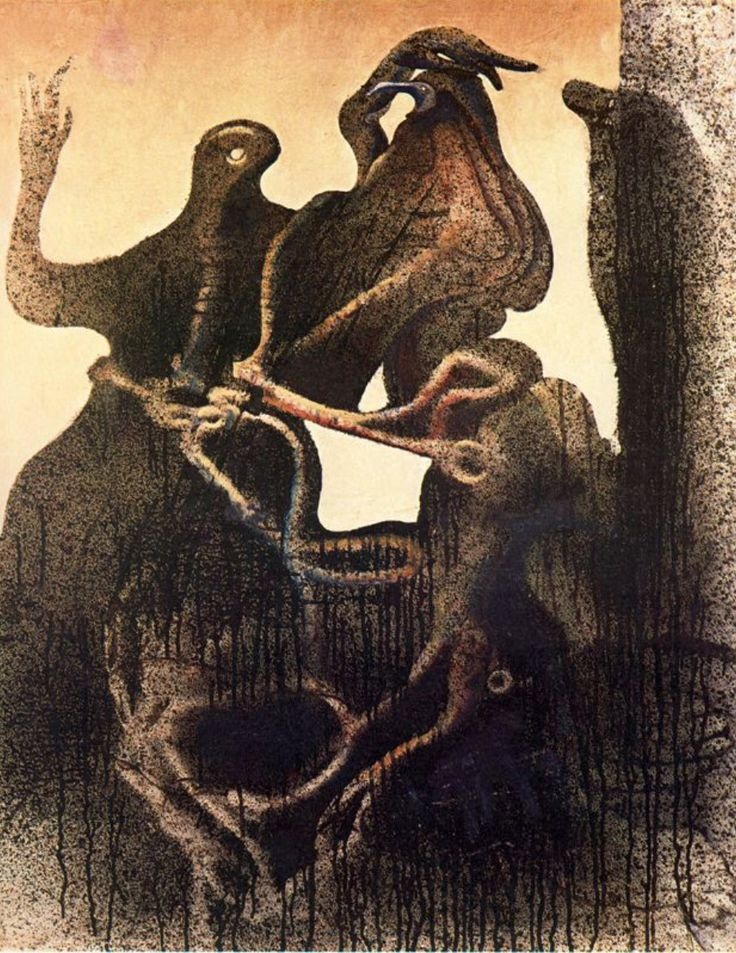 Birth of Zoomorph Couple by Max Ernst, 1933. Oil on canvas, 73 x 91.5 cm. Solomon R. Guggenheim Museum, New York City, NY.