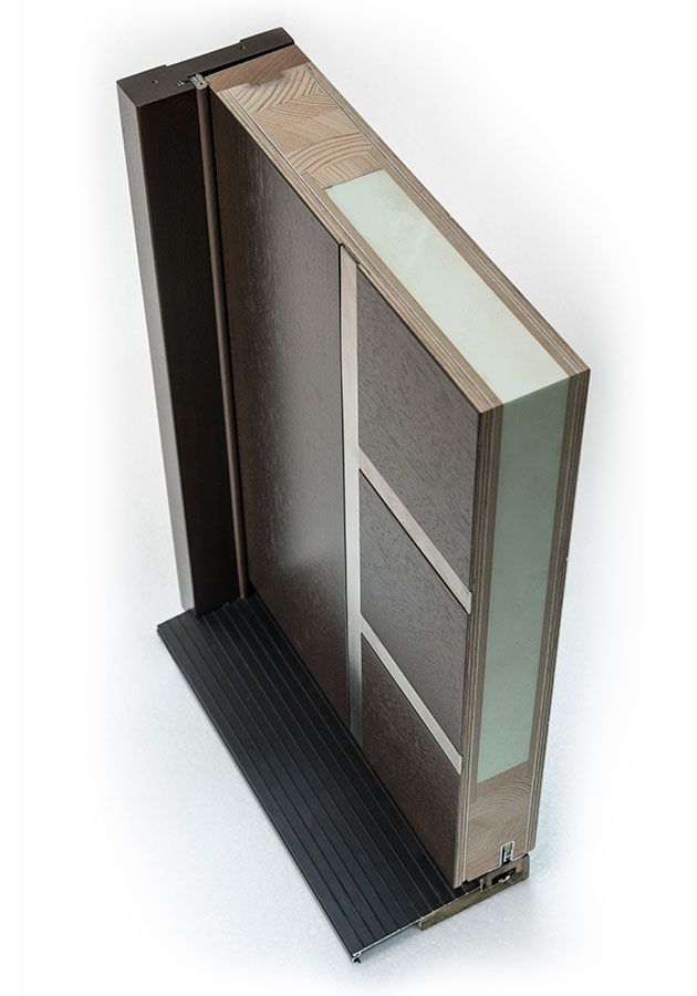 Entry Door in-Stock - Single - Wood with Walnut Finish, Modern Euro Collection, Model DB-EMD-B1W